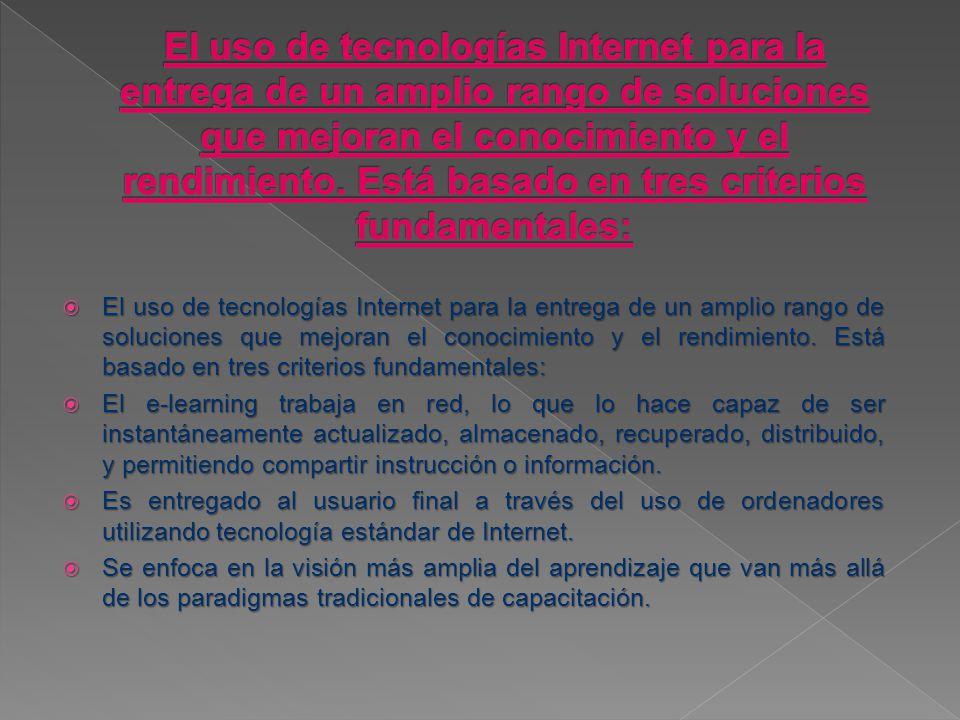El uso de tecnologías Internet para la entrega de un amplio rango de soluciones que mejoran el conocimiento y el rendimiento.