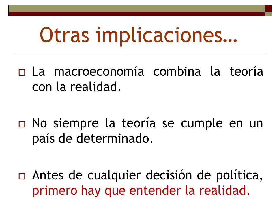 Otras implicaciones… La macroeconomía combina la teoría con la realidad. No siempre la teoría se cumple en un país de determinado. Antes de cualquier