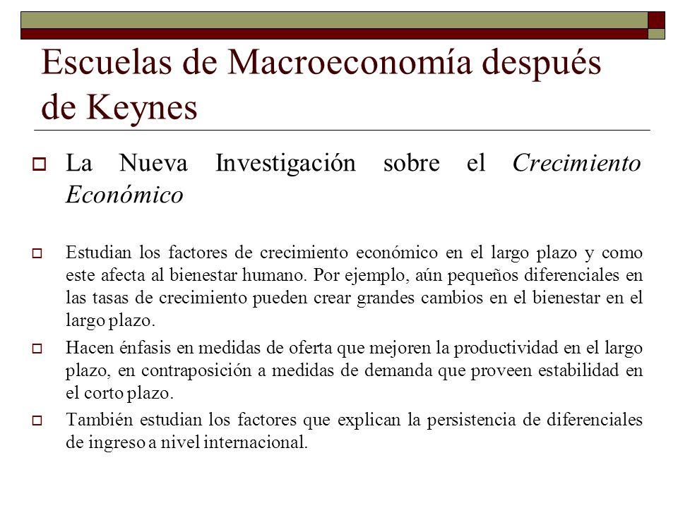 Escuelas de Macroeconomía después de Keynes La Nueva Investigación sobre el Crecimiento Económico Estudian los factores de crecimiento económico en el