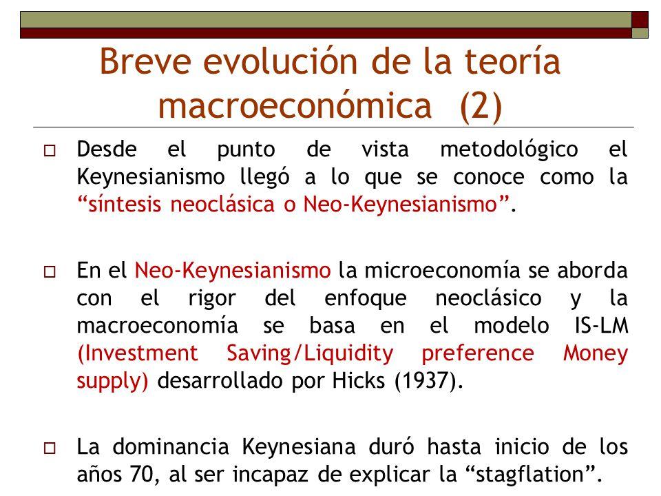 Breve evolución de la teoría macroeconómica (2) Desde el punto de vista metodológico el Keynesianismo llegó a lo que se conoce como la síntesis neoclá