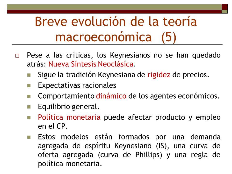 Breve evolución de la teoría macroeconómica (5) Pese a las críticas, los Keynesianos no se han quedado atrás: Nueva Síntesis Neoclásica. Sigue la trad