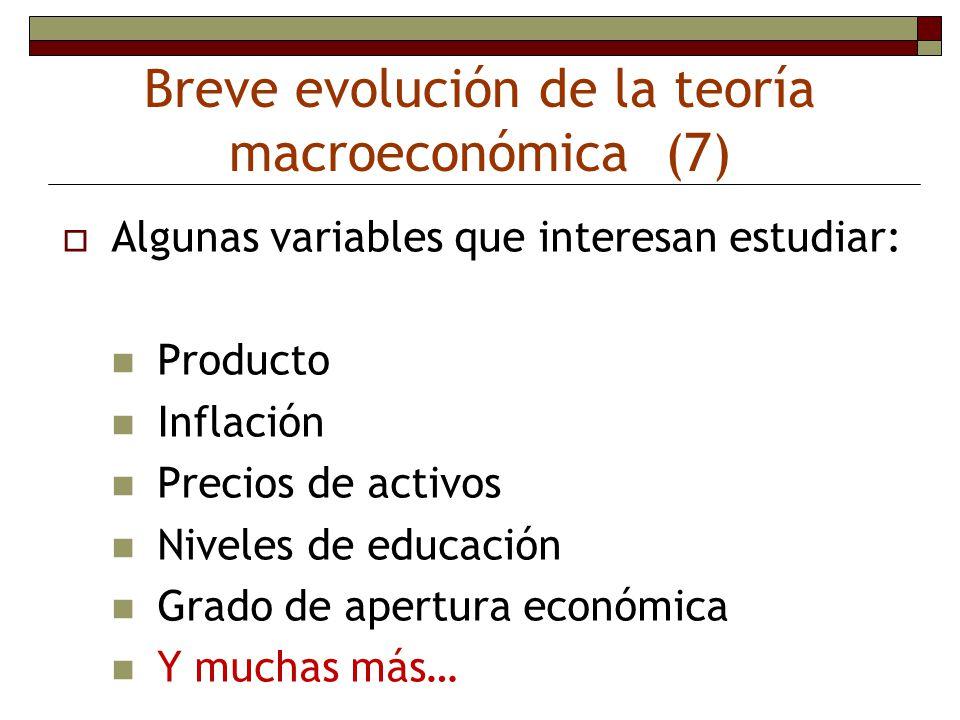 Breve evolución de la teoría macroeconómica (7) Algunas variables que interesan estudiar: Producto Inflación Precios de activos Niveles de educación G