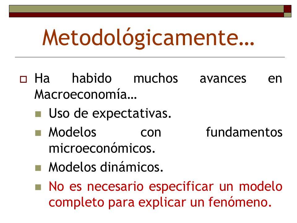 Metodológicamente… Ha habido muchos avances en Macroeconomía… Uso de expectativas. Modelos con fundamentos microeconómicos. Modelos dinámicos. No es n