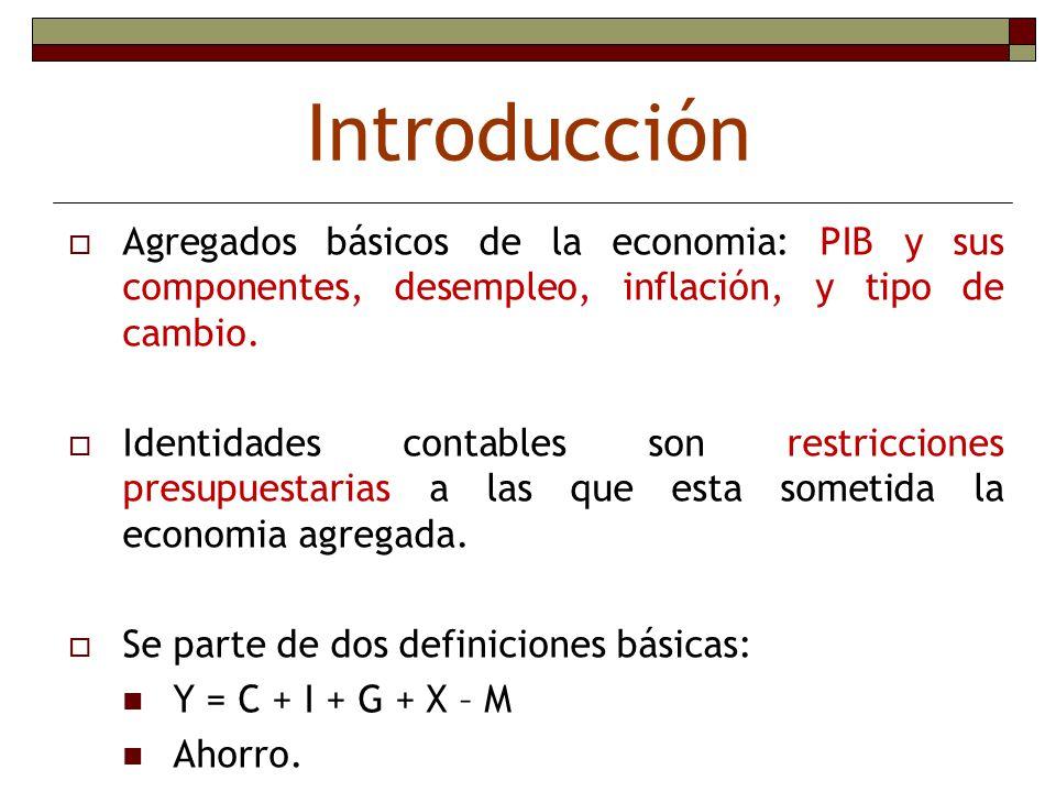 Introducción Agregados básicos de la economia: PIB y sus componentes, desempleo, inflación, y tipo de cambio. Identidades contables son restricciones