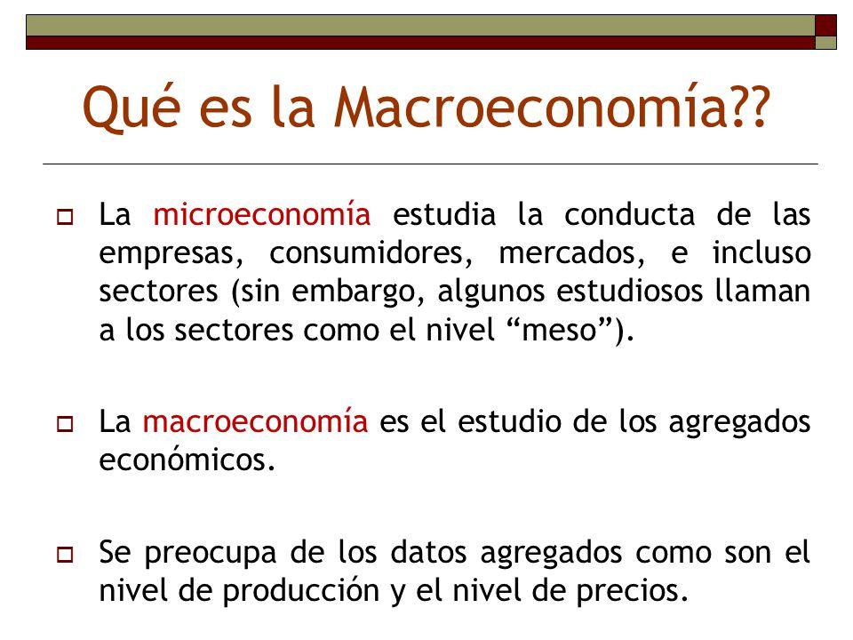 Qué es la Macroeconomía?? La microeconomía estudia la conducta de las empresas, consumidores, mercados, e incluso sectores (sin embargo, algunos estud
