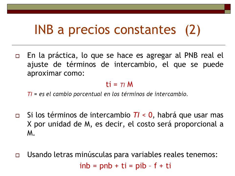 INB a precios constantes (2) En la práctica, lo que se hace es agregar al PNB real el ajuste de términos de intercambio, el que se puede aproximar com