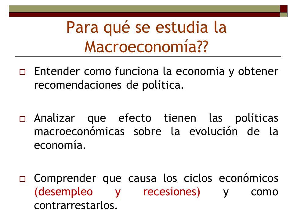 Para qué se estudia la Macroeconomía?? Entender como funciona la economia y obtener recomendaciones de política. Analizar que efecto tienen las políti