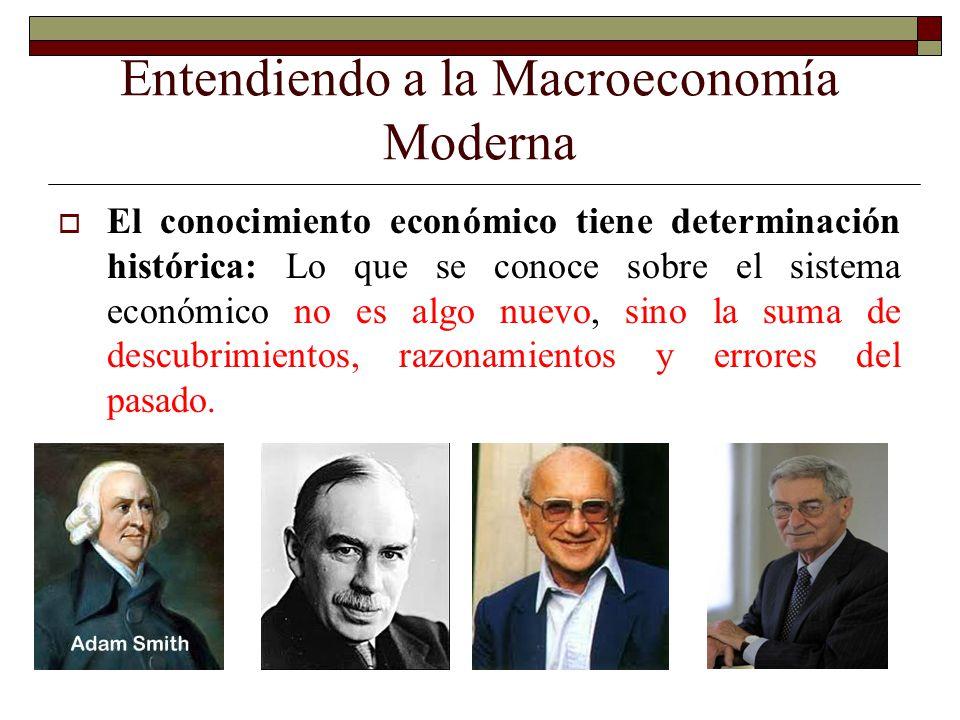 Entendiendo a la Macroeconomía Moderna El conocimiento económico tiene determinación histórica: Lo que se conoce sobre el sistema económico no es algo