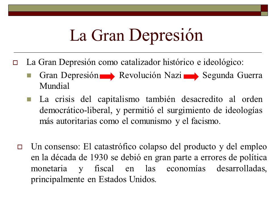 La Gran Depresión La Gran Depresión como catalizador histórico e ideológico: Gran Depresión Revolución Nazi Segunda Guerra Mundial La crisis del capit