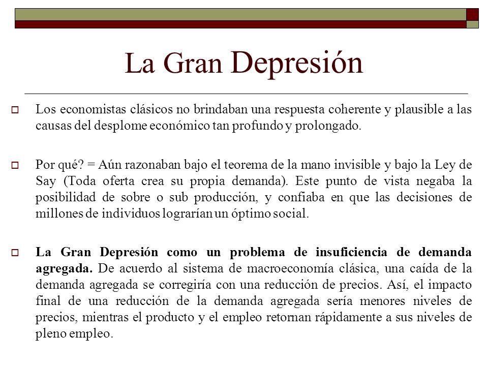 La Gran Depresión Los economistas clásicos no brindaban una respuesta coherente y plausible a las causas del desplome económico tan profundo y prolong
