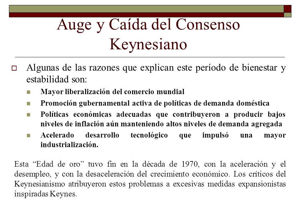 Auge y Caída del Consenso Keynesiano Algunas de las razones que explican este período de bienestar y estabilidad son: Mayor liberalización del comerci