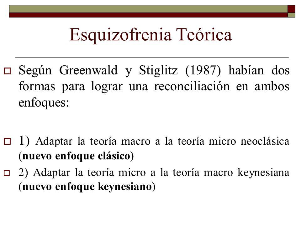 Esquizofrenia Teórica Según Greenwald y Stiglitz (1987) habían dos formas para lograr una reconciliación en ambos enfoques: 1) Adaptar la teoría macro