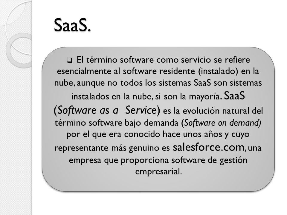SaaS. El término software como servicio se refiere esencialmente al software residente (instalado) en la nube, aunque no todos los sistemas SaaS son s