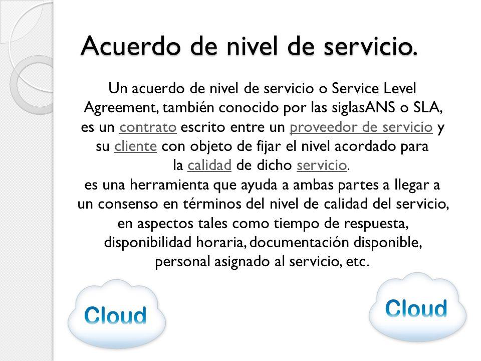 Acuerdo de nivel de servicio. Un acuerdo de nivel de servicio o Service Level Agreement, también conocido por las siglasANS o SLA, es un contrato escr