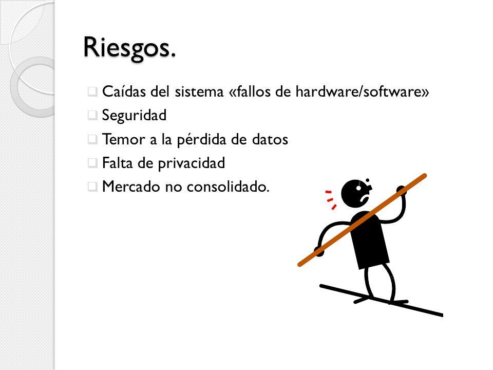 Riesgos. Caídas del sistema «fallos de hardware/software» Seguridad Temor a la pérdida de datos Falta de privacidad Mercado no consolidado.