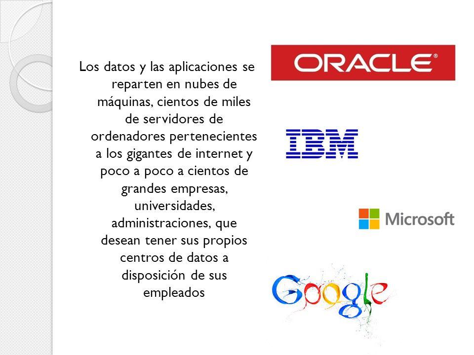 Los datos y las aplicaciones se reparten en nubes de máquinas, cientos de miles de servidores de ordenadores pertenecientes a los gigantes de internet