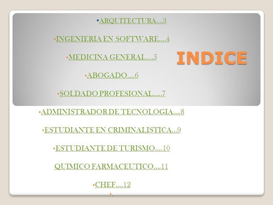 INDICE ARQUITECTURA….3 INGENIERIA EN SOFTWARE….4 MEDICINA GENERAL….5 ABOGADO….6 SOLDADO PROFESIONAL…..7 ADMINISTRADOR DE TECNOLOGIA….8 ESTUDIANTE EN C