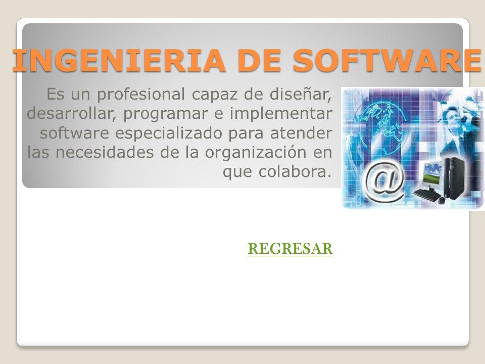 INGENIERIA DE SOFTWARE Es un profesional capaz de diseñar, desarrollar, programar e implementar software especializado para atender las necesidades de