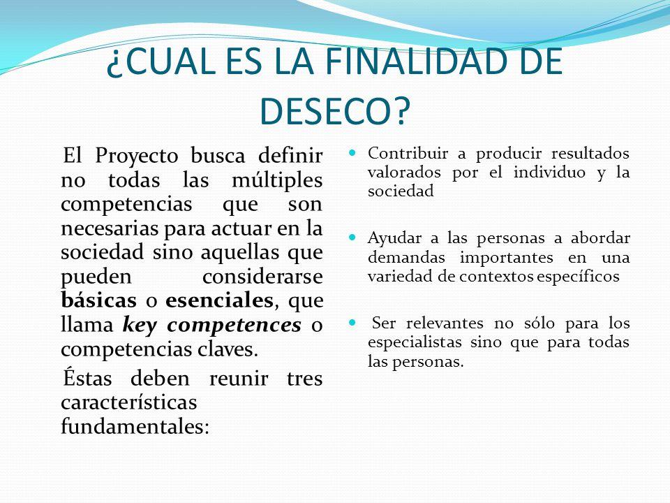 CATEGORIAS DE COMPETENCIAS CLAVES DESECO ha creado un marco de análisis que identifica tres categorías de competencias claves.