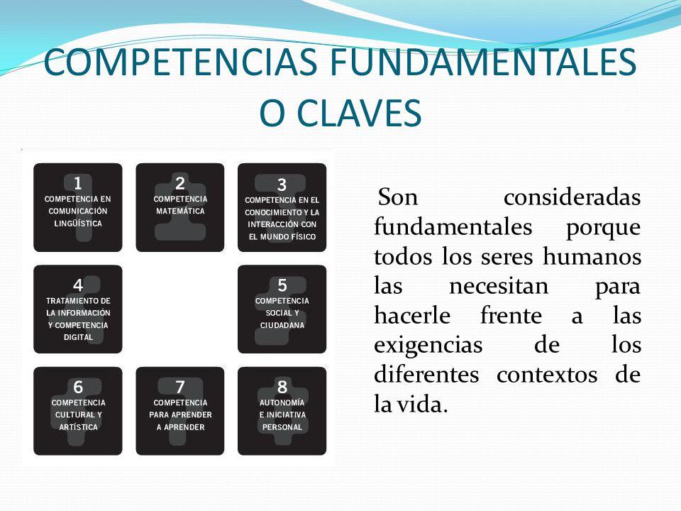 COMPETENCIAS FUNDAMENTALES O CLAVES Son consideradas fundamentales porque todos los seres humanos las necesitan para hacerle frente a las exigencias d