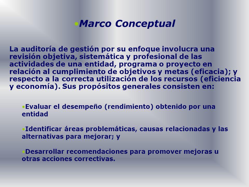 Marco Conceptual La auditoría de gestión por su enfoque involucra una revisión objetiva, sistemática y profesional de las actividades de una entidad,