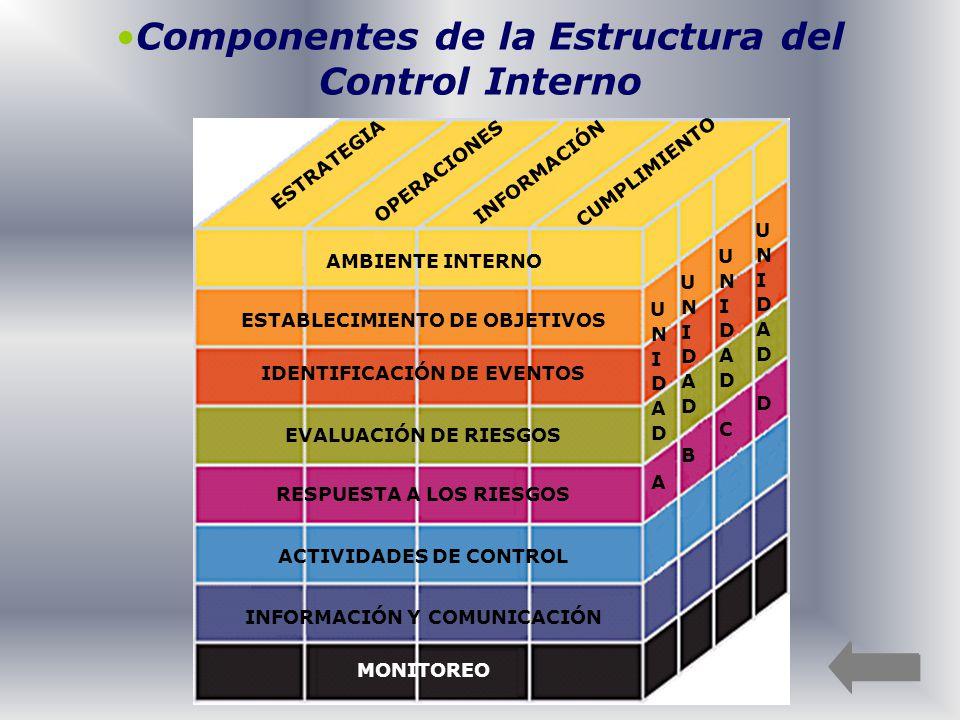 Componentes de la Estructura del Control Interno UNIDAD AUNIDAD A UNIDAD BUNIDAD B UNIDAD CUNIDAD C UNIDAD DUNIDAD D ESTRATEGIA OPERACIONES INFORMACIÓ