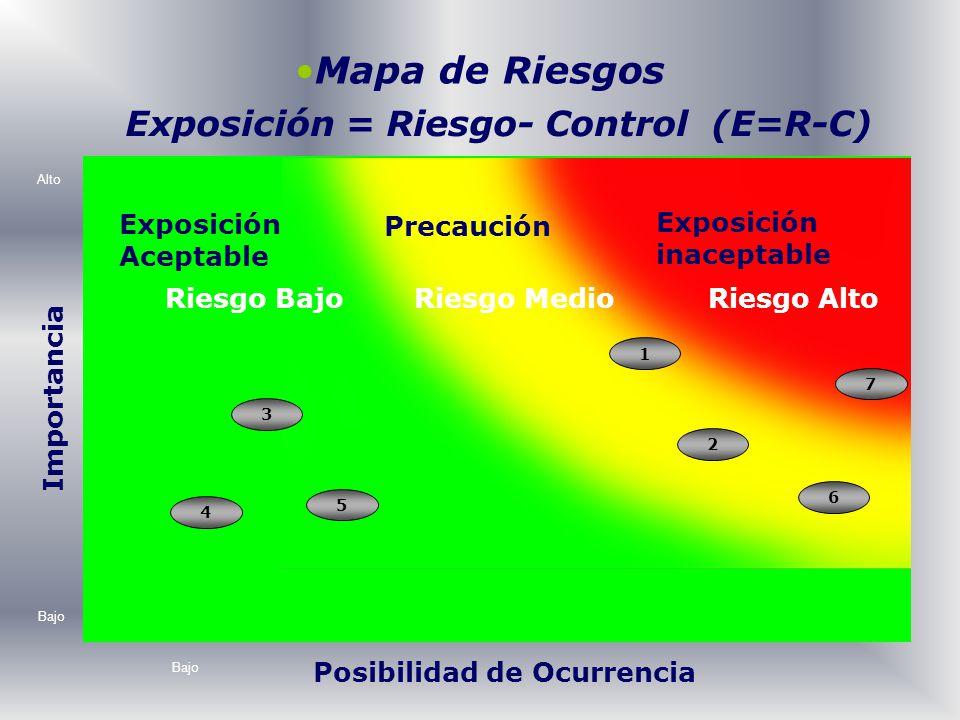 Mapa de Riesgos Posibilidad de Ocurrencia Importancia Alto Bajo Riesgo AltoRiesgo MedioRiesgo Bajo 1 3 4 2 5 6 7 Exposición = Riesgo- Control (E=R-C)
