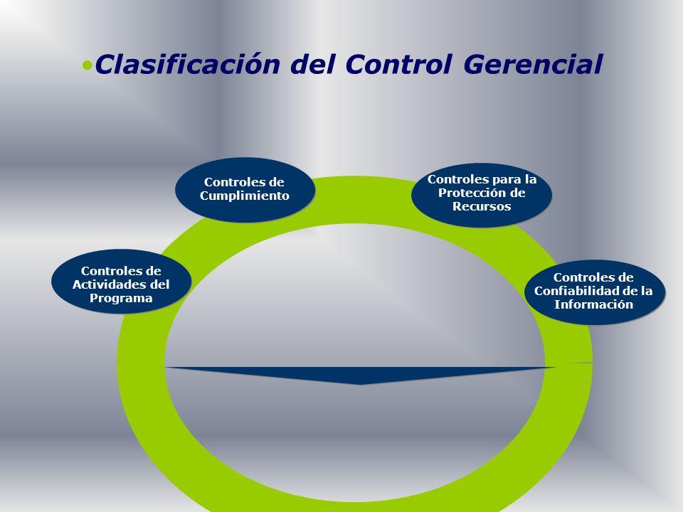 Clasificación del Control Gerencial Controles de Actividades del Programa Controles de Cumplimiento Controles para la Protección de Recursos Controles