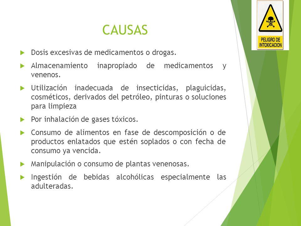 CAUSAS Dosis excesivas de medicamentos o drogas. Almacenamiento inapropiado de medicamentos y venenos. Utilización inadecuada de insecticidas, plaguic