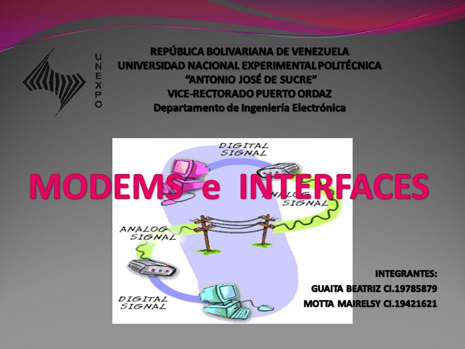 PUNTOS A TRATAR: Módem, Modem UIT-T Módems Asíncronos Módems Síncronos Módems de Banda Ancha Módems Inteligentes Interfaces Descripción de las interfaces Normas UIT-T, EIA e IEEE
