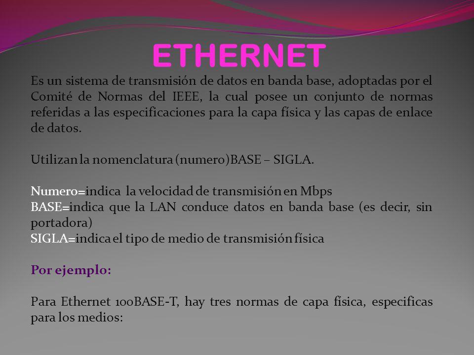 ETHERNET Es un sistema de transmisión de datos en banda base, adoptadas por el Comité de Normas del IEEE, la cual posee un conjunto de normas referidas a las especificaciones para la capa física y las capas de enlace de datos.