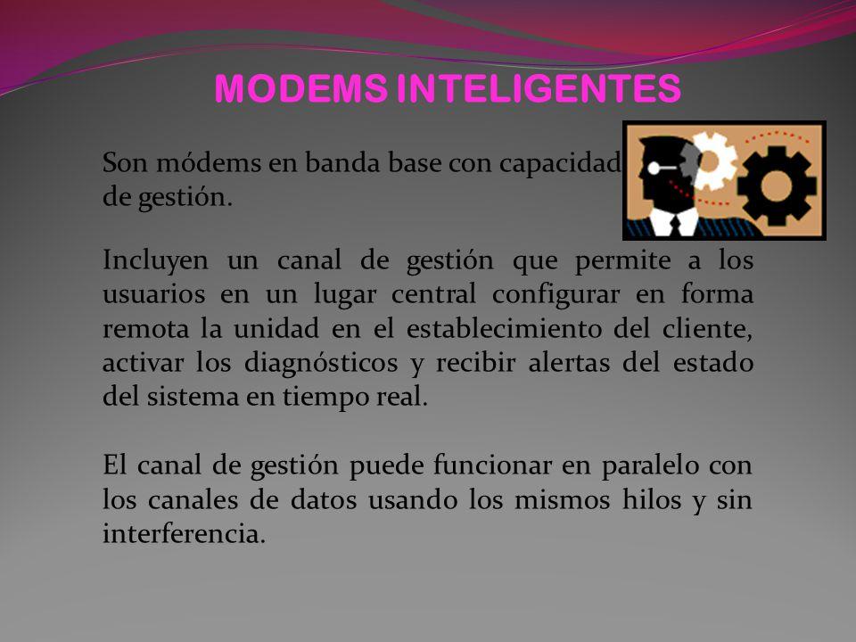 MODEMS INTELIGENTES Son módems en banda base con capacidad de gestión.
