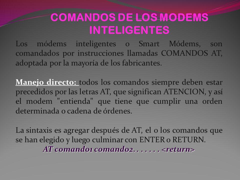 COMANDOS DE LOS MODEMS INTELIGENTES Los módems inteligentes o Smart Módems, son comandados por instrucciones llamadas COMANDOS AT, adoptada por la mayoría de los fabricantes.
