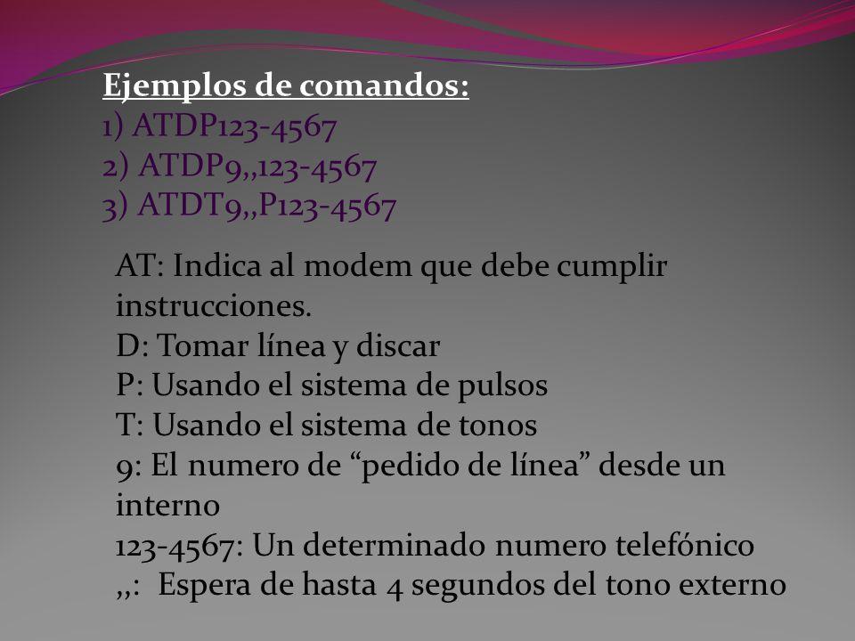 Ejemplos de comandos: 1) ATDP123-4567 2) ATDP9,,123-4567 3) ATDT9,,P123-4567 AT: Indica al modem que debe cumplir instrucciones.