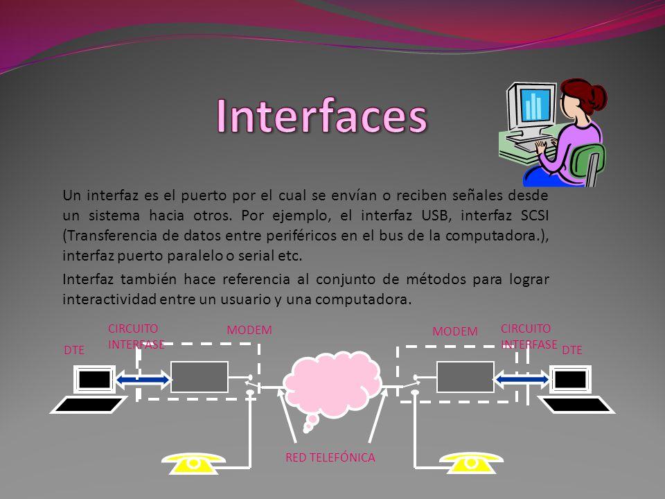 Un interfaz es el puerto por el cual se envían o reciben señales desde un sistema hacia otros.