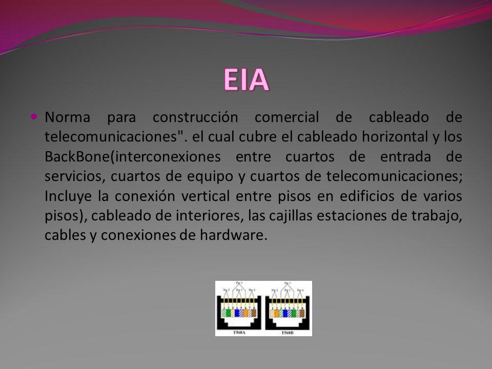 Norma para construcción comercial de cableado de telecomunicaciones .