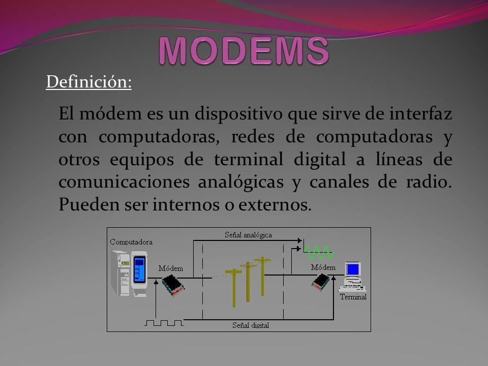Definición: El módem es un dispositivo que sirve de interfaz con computadoras, redes de computadoras y otros equipos de terminal digital a líneas de comunicaciones analógicas y canales de radio.