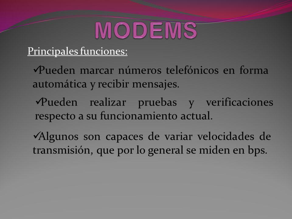 MODEMS ASINCRONOS Y SINCRONOS Se caracterizan porque no hay ningún dispositivo de reloj en el receptor que controle la información.