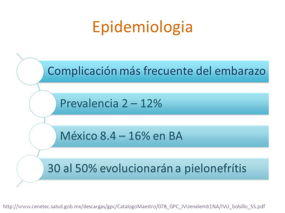 Epidemiologia Complicación más frecuente del embarazo Prevalencia 2 – 12% México 8.4 – 16% en BA 30 al 50% evolucionarán a pielonefrítis http://www.cenetec.salud.gob.mx/descargas/gpc/CatalogoMaestro/078_GPC_IVUenelemb1NA/IVU_bolsillo_SS.pdf