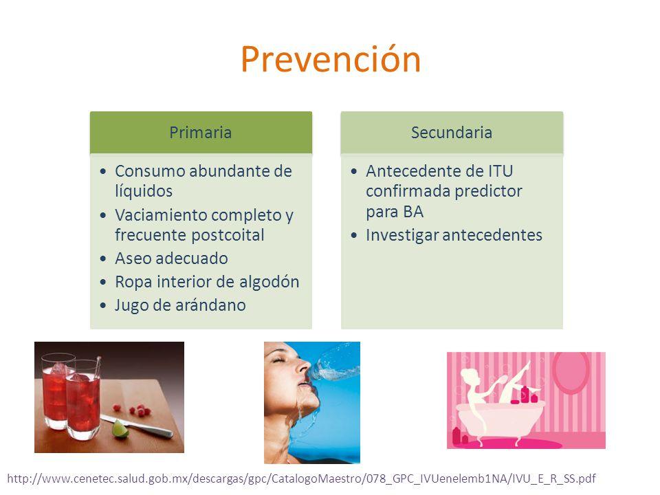 Prevención Primaria Consumo abundante de líquidos Vaciamiento completo y frecuente postcoital Aseo adecuado Ropa interior de algodón Jugo de arándano