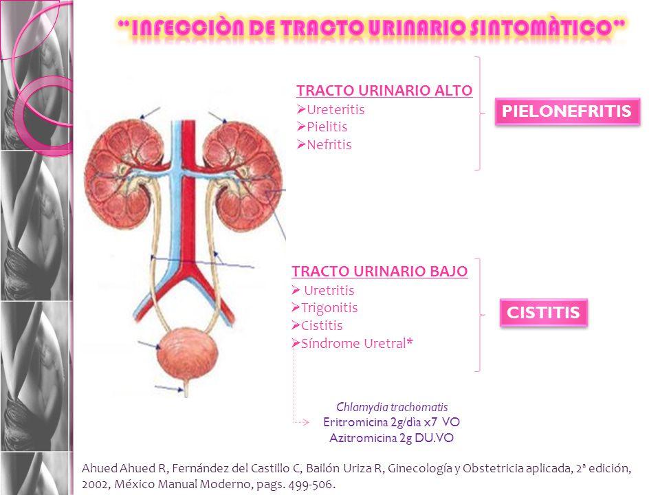 TRACTO URINARIO BAJO Uretritis Trigonitis Cistitis Síndrome Uretral* TRACTO URINARIO ALTO Ureteritis Pielitis Nefritis PIELONEFRITIS CISTITIS Chlamydia trachomatis Eritromicina 2g/dìa x7 VO Azitromicina 2g DU.