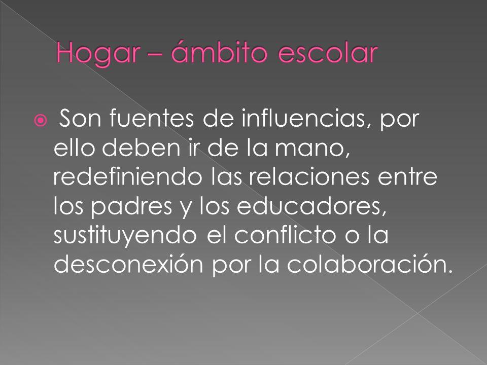 Son fuentes de influencias, por ello deben ir de la mano, redefiniendo las relaciones entre los padres y los educadores, sustituyendo el conflicto o la desconexión por la colaboración.