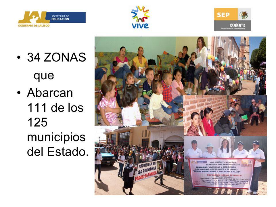 34 ZONAS que Abarcan 111 de los 125 municipios del Estado.
