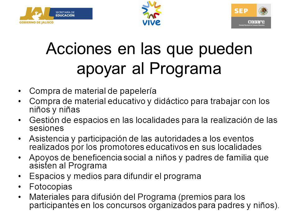 Acciones en las que pueden apoyar al Programa Compra de material de papelería Compra de material educativo y didáctico para trabajar con los niños y n