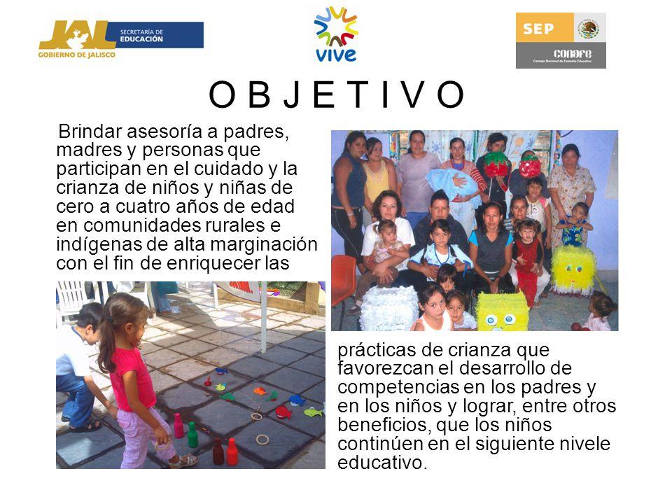 O B J E T I V O Brindar asesoría a padres, madres y personas que participan en el cuidado y la crianza de niños y niñas de cero a cuatro años de edad