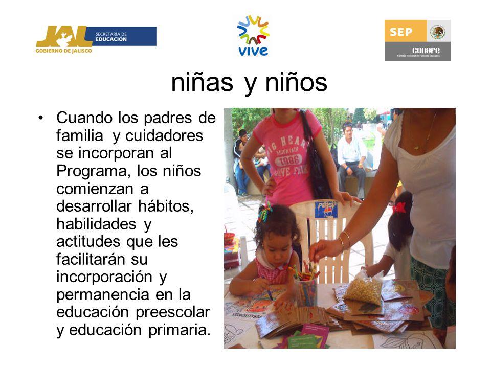 niñas y niños Cuando los padres de familia y cuidadores se incorporan al Programa, los niños comienzan a desarrollar hábitos, habilidades y actitudes