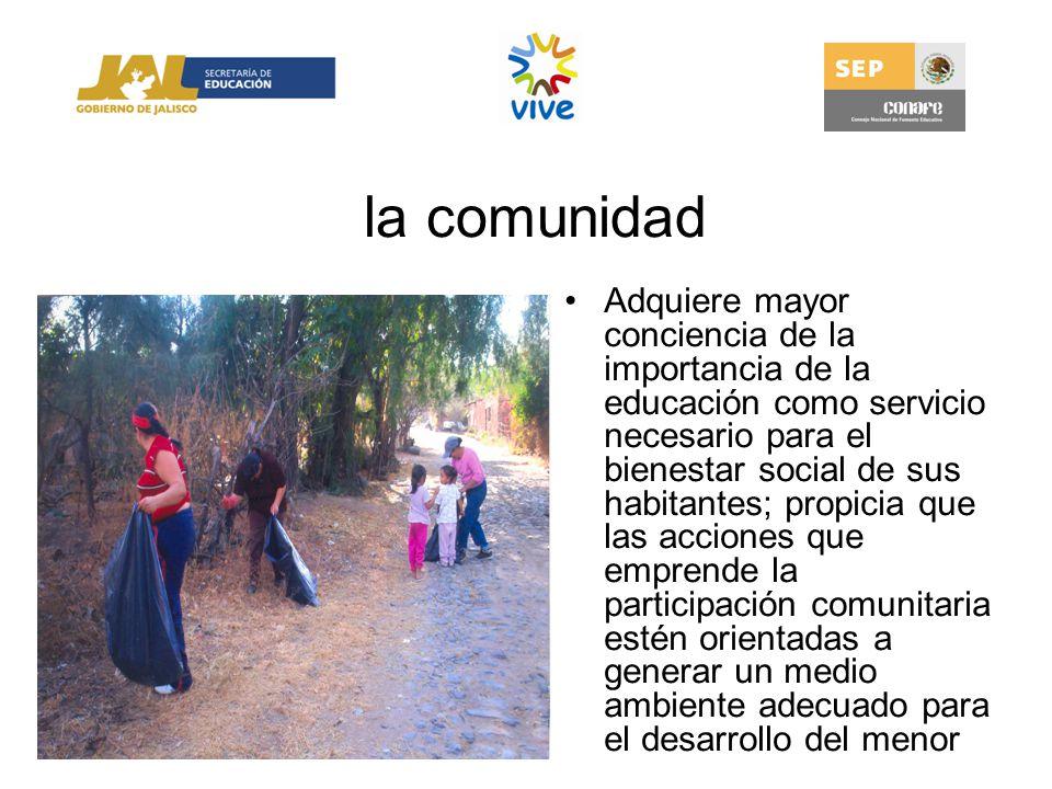 la comunidad Adquiere mayor conciencia de la importancia de la educación como servicio necesario para el bienestar social de sus habitantes; propicia