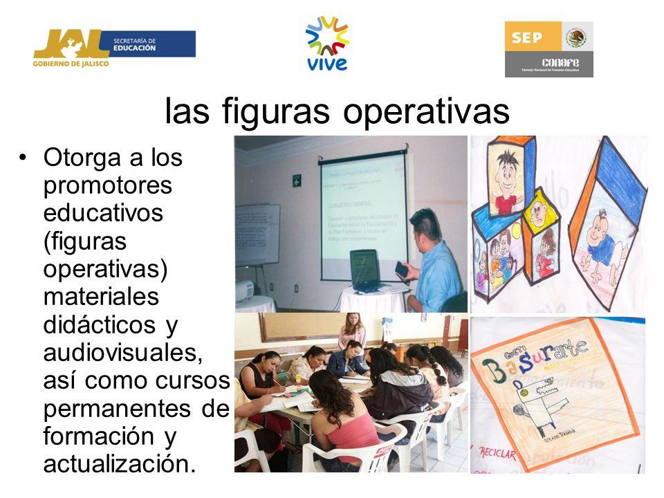 las figuras operativas Otorga a los promotores educativos (figuras operativas) materiales didácticos y audiovisuales, así como cursos permanentes de f