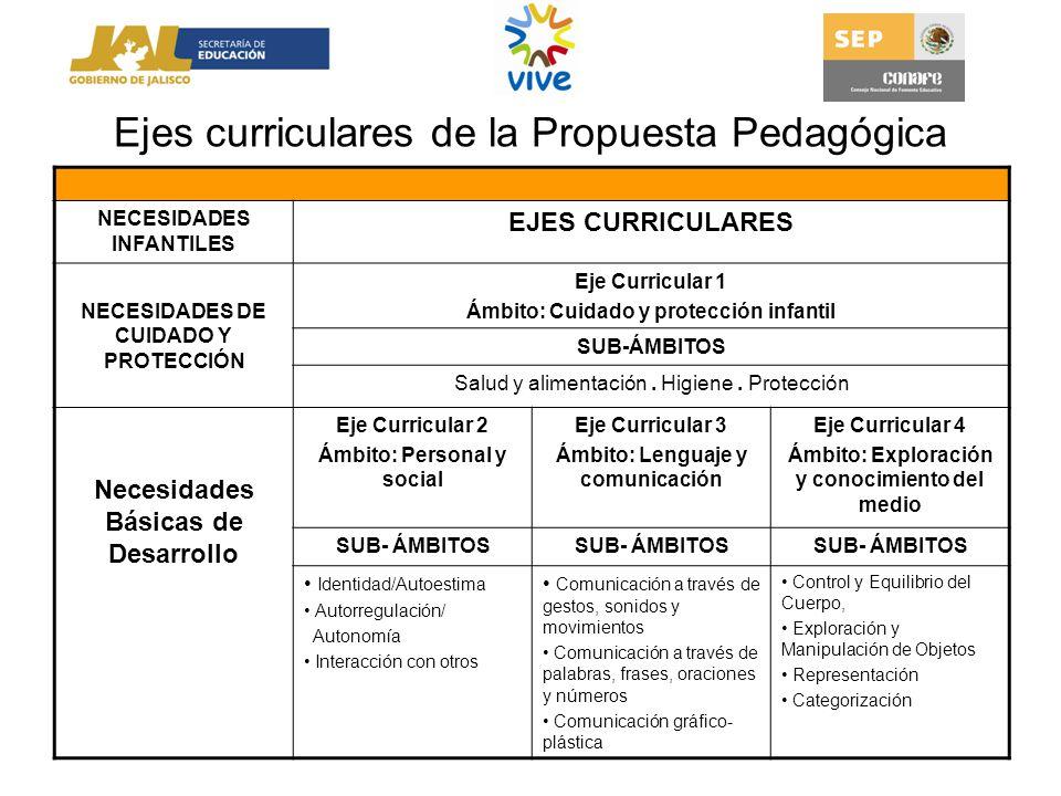 Ejes curriculares de la Propuesta Pedagógica NECESIDADES INFANTILES EJES CURRICULARES NECESIDADES DE CUIDADO Y PROTECCIÓN Eje Curricular 1 Ámbito: Cui