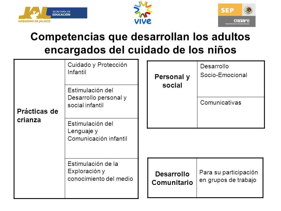 Competencias que desarrollan los adultos encargados del cuidado de los niños Prácticas de crianza Cuidado y Protección Infantil Estimulación del Desar